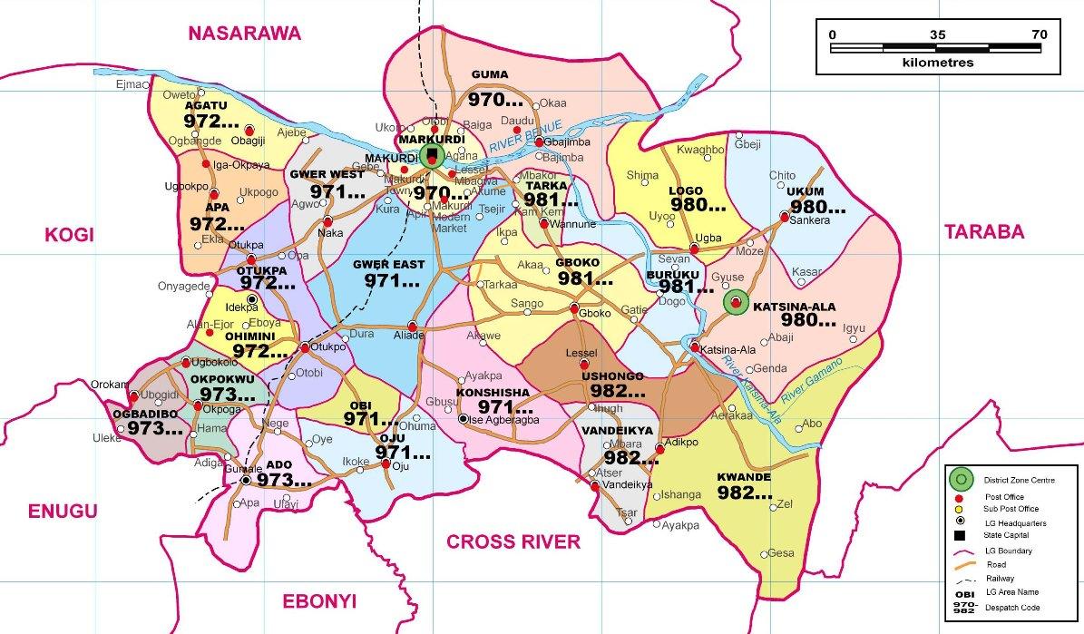 Benue State Postcode Map