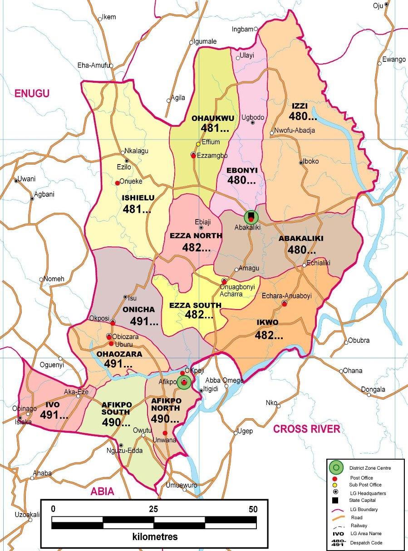 Ebonyi State Postcode Map