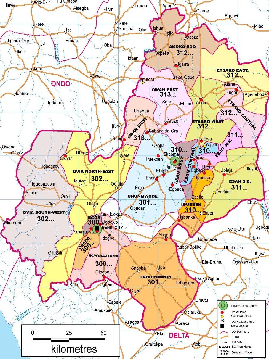 Edo State Zip Code Map