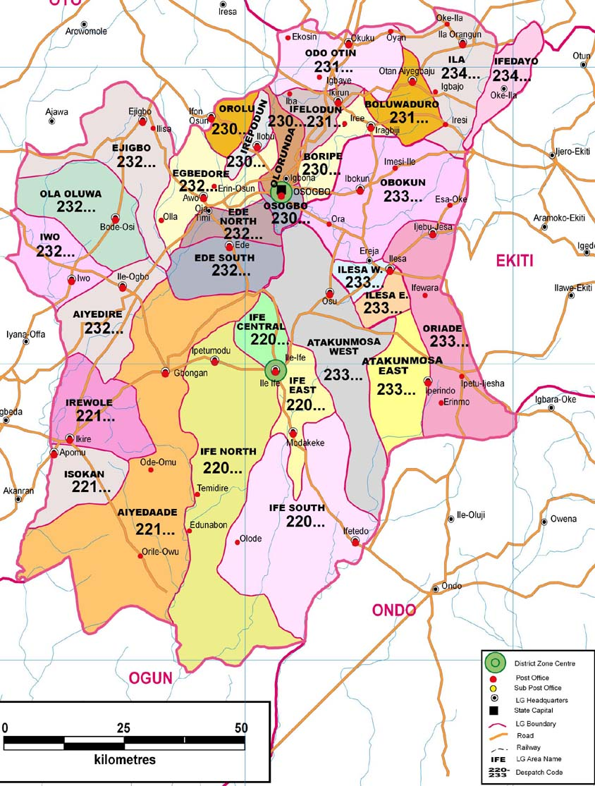Osun State Zip Code Map