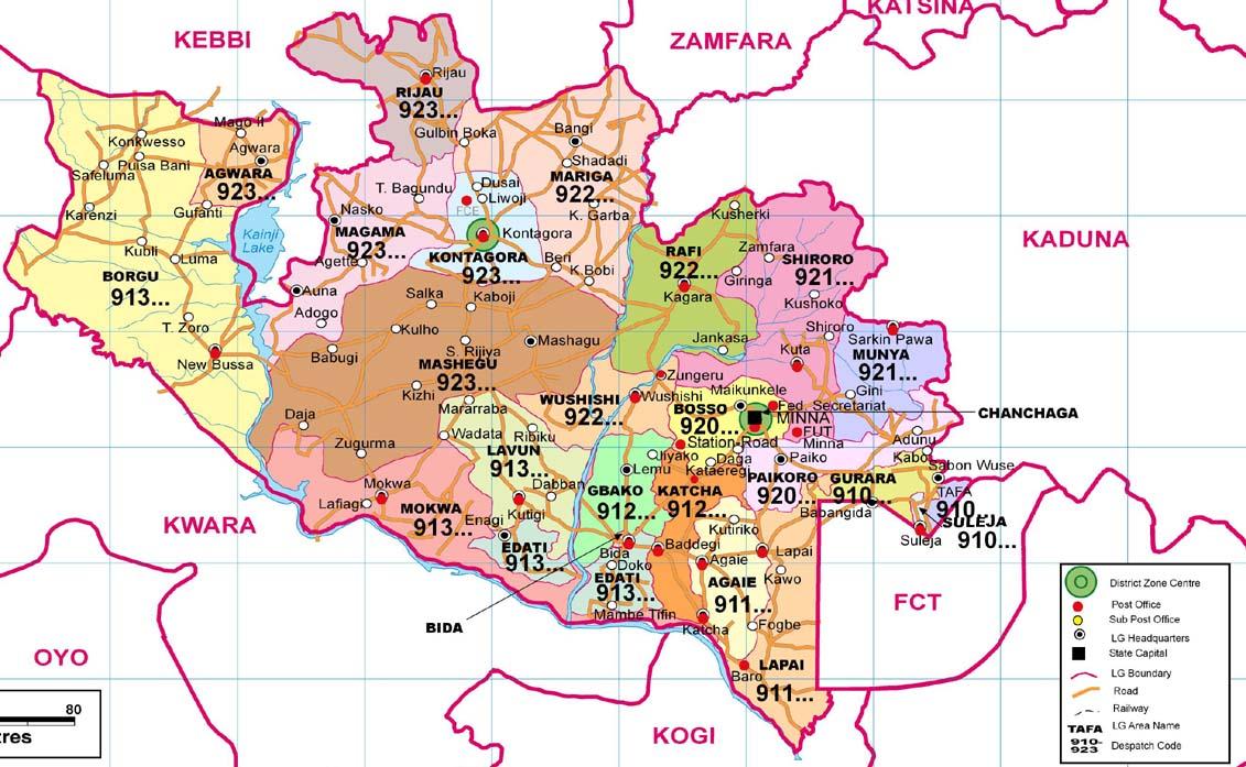 Niger State Zip Code Map - Niger map