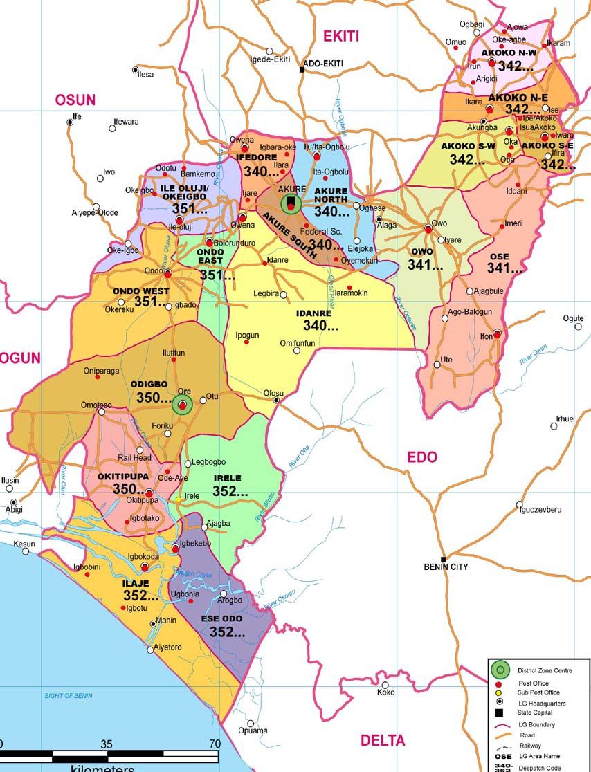 Ondo State Zip Code Map